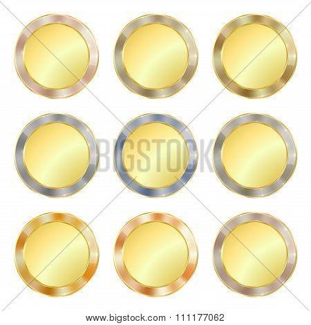Vector Set Of Simple Round Gold Medal With A Border Of Various Precious Metals Gold, Silver, Platinu