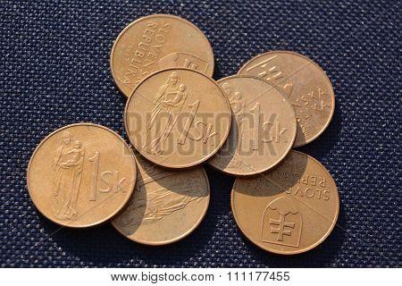 Slovak money - 1  Krona Year 1991