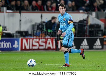 Leverkusen Germany- December 9 2015: Lionel Messi during the UEFA Champions League game between Bayer 04 Leverkusen vs Barcelona at BayArena stadium poster