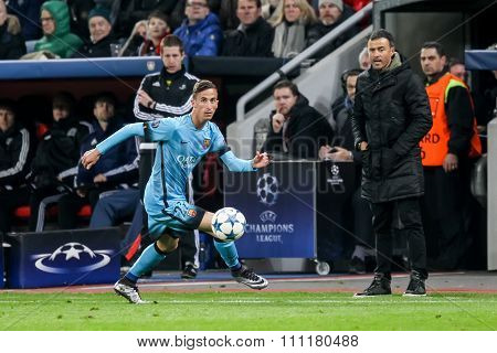 Juan Camara During The Uefa Champions League Game Between Bayer 04 Leverkusen Vs Barcelona At Bayare