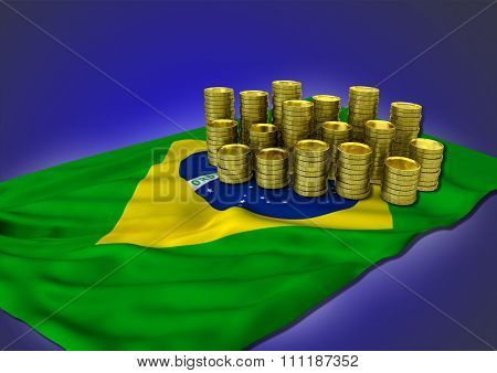 Brazilian economy concept with national flag and stack of golden coins on blue background poster