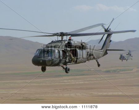 Blawkhawk Helicopter In Flight.