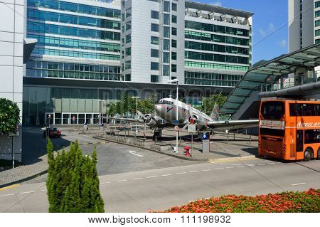 HONG KONG - JUNE 04, 2015: Niki, a DC-3 outside Cathay City. Cathay Pacific City or Cathay City is the headquarters of Cathay Pacific at Hong Kong International Airport.