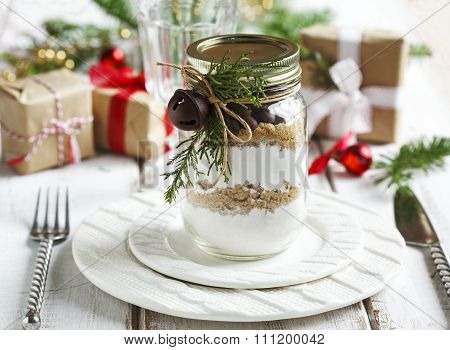 Chocolate Chips Cookie Mix For Christmas Gift. Christmas Table Setting