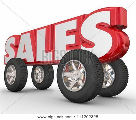 Sales word in red 3d letters with wheels and tires to illustrate automotive, car, vehicle or truck sale numbers, discounts or dealership deals