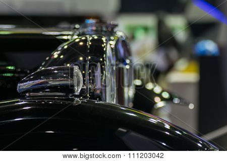 Zoom Headlight Of Classic Car In Car Show Event