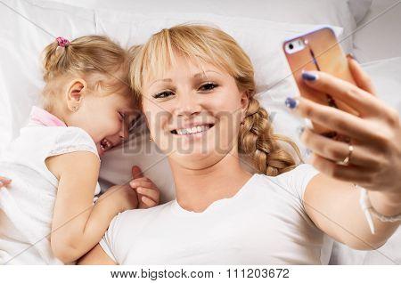 Mother daughter selfie