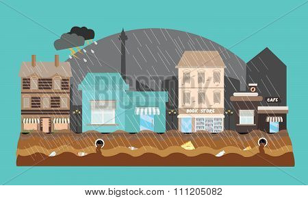 flooding flooded store shop mall street town weather high tide