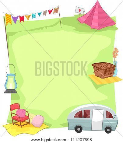 Group Illustration Featuring Camping Related Items