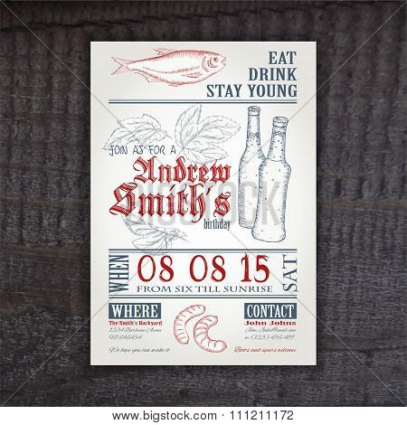 Vector Hand Drawn Vintage Invitation On Birthday With Hop, Stockfish, Sausage And Bottle On Wooden D