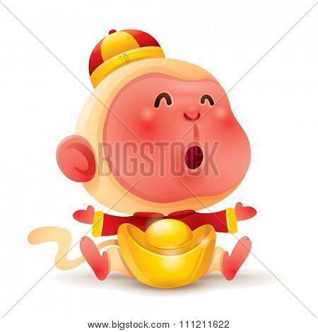 Chinese Zodiac - Monkey. Chinese New Year. Monkey with chinese gold.