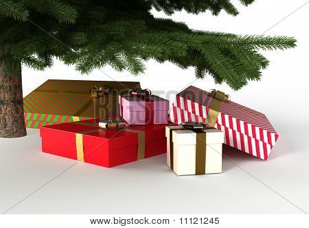 Presents under Christmas Tree, with Clipping Path