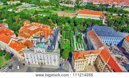 Area Lesser Town Of Prague(mala Strana), Near The Church Saint Vitus, Ventseslaus And Adalbert. Czec