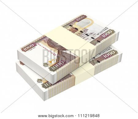 Kenyan shillings isolated on white background. Computer generated 3D photo rendering.