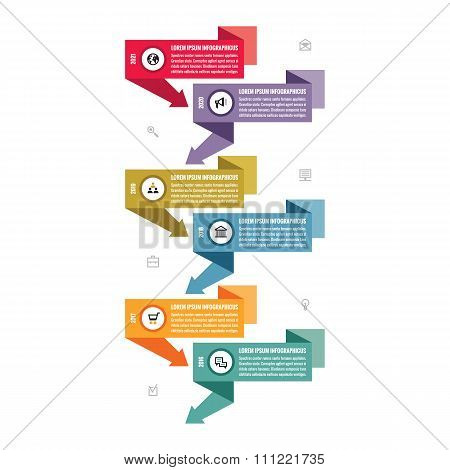 Infographic business vector concept in flat design style - vertical timeline banners.