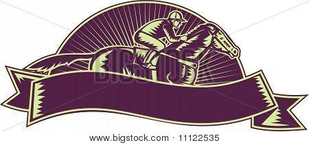 caballo y jinete de carreras grabar en madera