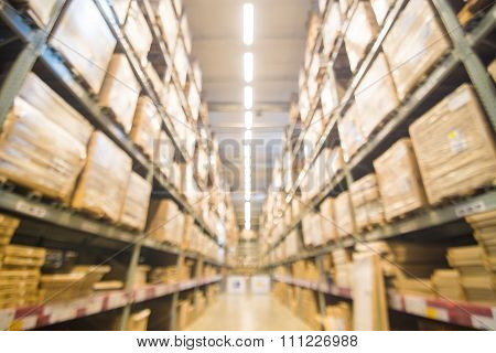 Blurred Warehouse Or Storehouse Shopping Home Decor