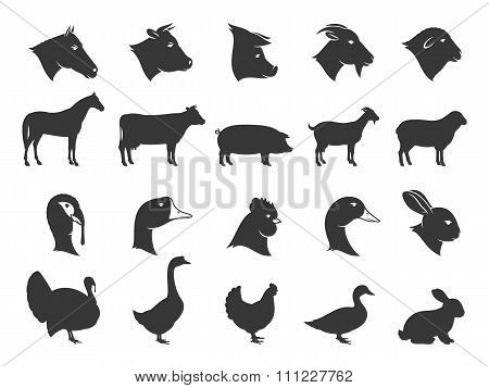 Farm Animals Silhouettes and Icons