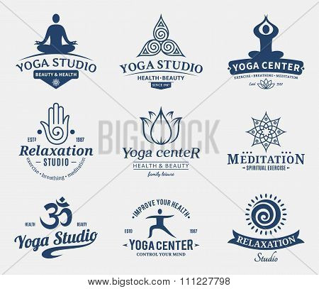 Yoga Studio Labels, Icons And Design Elements