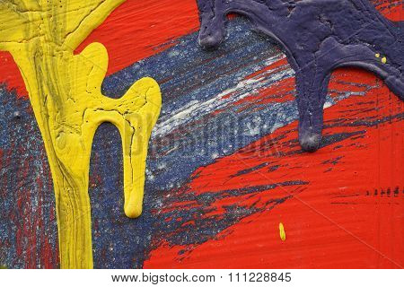 Yellow, Blue And Red Acrylic Paint  On  Metal Surface