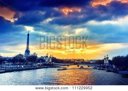 Beautiful Sunset Over Seine River And Alexandre Iii Bridge. Paris, France