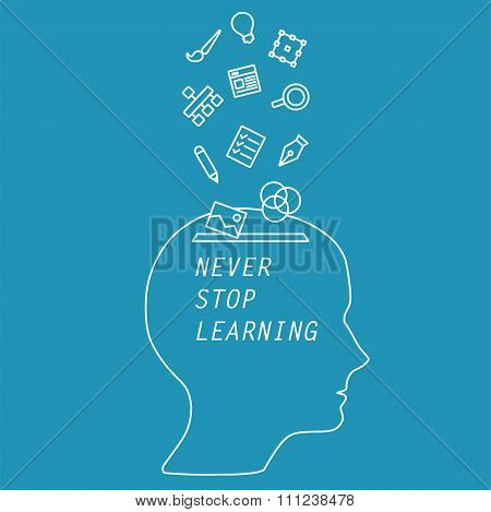 Illustration words - never stop learning