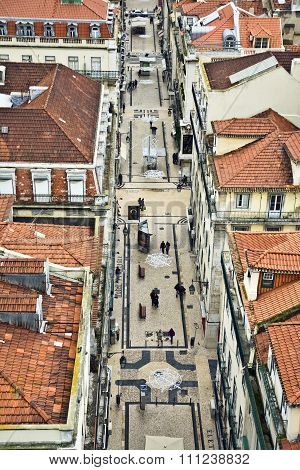 View From The Elevador De Santa Justa  To The Old Part Of Lisbon