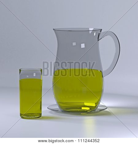 Pitcher and glass of lemonade.