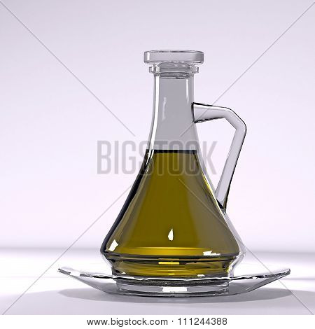 Jug with olive oil.