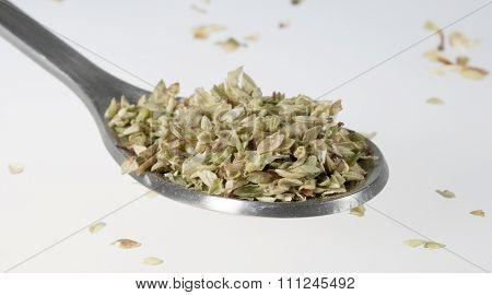 Dried Oregano On Tablespoon