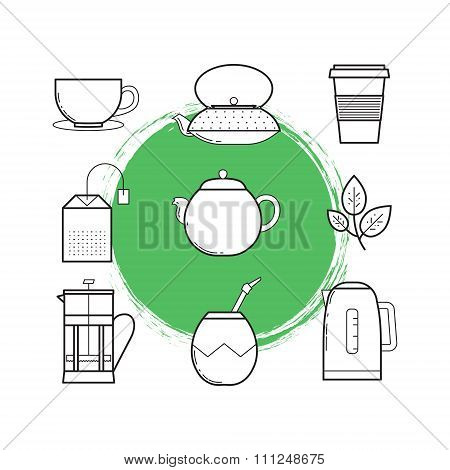 Lined Icon Set Of Tea Culture Objects