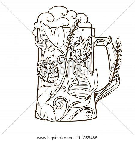 Beer mug abstract ornament vector