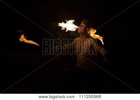 BRAGA, PORTUGAL - DECEMBER 13: Fire eater performing at Cardinali Circus on December 13, 2015 in Braga, Portugal.