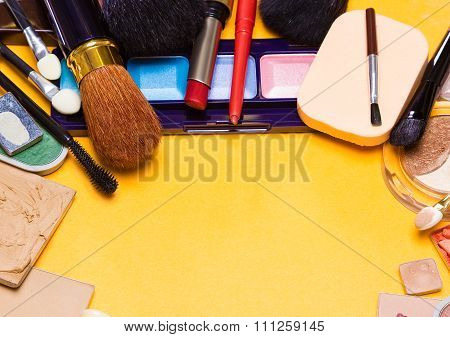 Different Makeup Cosmetics Background Semicircular Frame