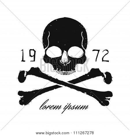 Skull and crossbones vintage black emblem. Print