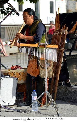 Busker in the old town of Albufeira, Portugal