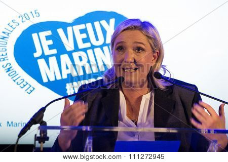 Wattrelos, FRANCE - November 6, 2015 : Marine le Pen from Front National during her speech for Regionales 2015