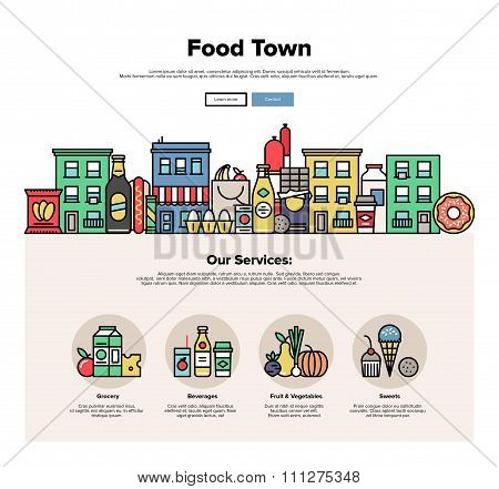 Food Town Flat Line Web Graphics