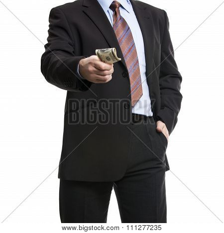 Some Unrecognizable Businessman In Suit Showing  A Spread Of Cash