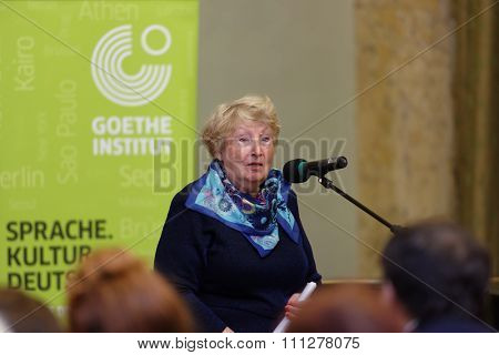 ST. PETERSBURG, RUSSIA - NOVEMBER 21, 2015: President of Russian association of German teachers Galina Perfilova delivers the opening remarks during the Day of German teachers in the Anichkov palace