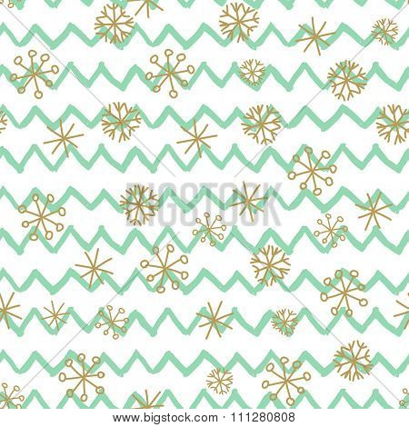 Stylish seamless snowflake pattern. Vector background with hand drawn gold snowflakes on mint zig zag background. Retro style design for paper, scrapbooking, textile design