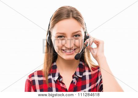 A Portrait Of Pretty Young Worker In Call Centre