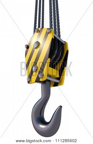 Tower crane hook isolated on white background. Construction concept image.