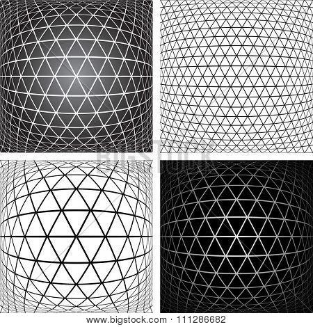 Triangles, diamonds and  hexagons patterns set. 3D geometric latticed textures.  Vector art.