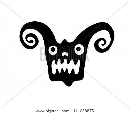 black monster head in native style, illustration