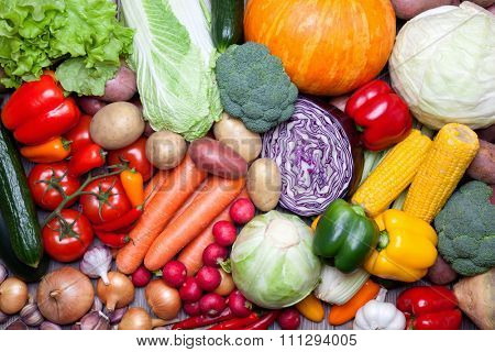 Close up of various fresh vegetables.
