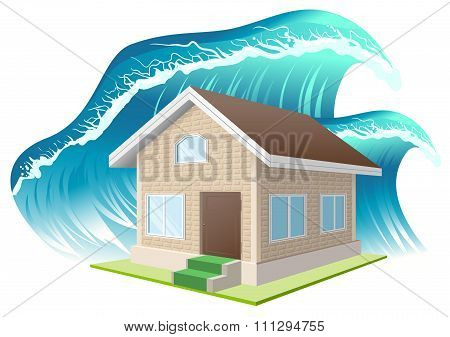Property insurance. Flood. Wave washes away home