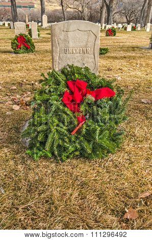Unknown Soldier's Gravesite With Holiday Wreath
