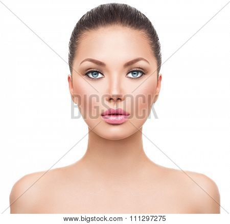Beauty Woman face Portrait. Beautiful Spa model Girl with Perfect Fresh Clean Skin. Brunette female looking at camera. Youth and Skin Care Concept. Isolated on a white background. Headshot