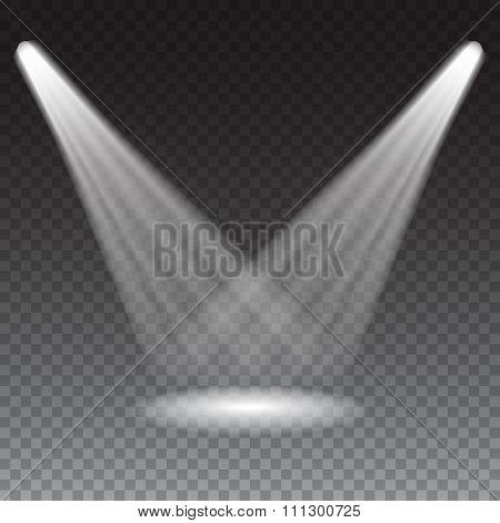 Beams from the spotlights